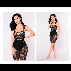 Mary Jane Black Lace Mini Dress